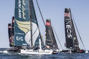 The Extreme Sailing Series 2018. Act 3. 14th-17th June. Barcelona, Catalonia, Spain. The fleet of race yachts in action during day 3 of racing close to the city.